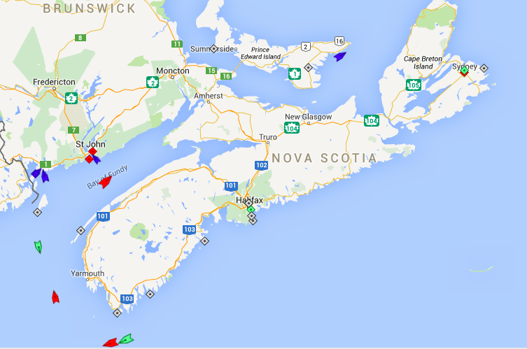 The seas around Nova Scotia, 9am Saturday. Map: marinetraffic.com
