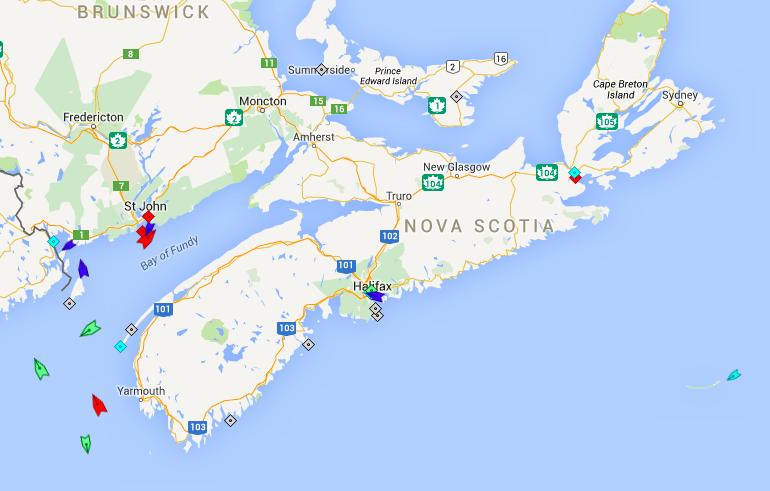 The seas off Nova Scotia, 8:15am Tuesday. Map: marinetraffic.com