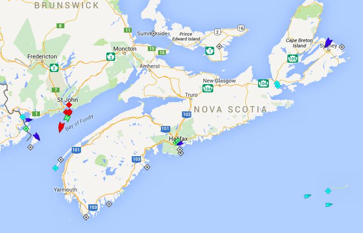 The seas around Nova Scotia, 7:30am Wednesday. Map: marinetraffic.com