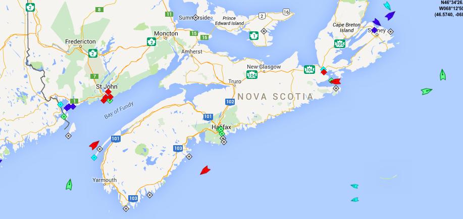 The seas around Nova Scotia, 9:30am Saturday. Map: marinetraffic.com