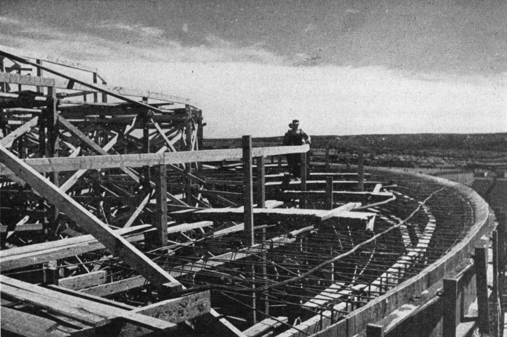 A worker constructs part of the forming for the roof dome in 1945.