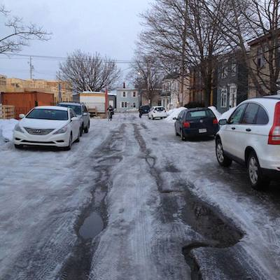 The icy state of Harris Street is typical of north end streets. Photo: Alana Yorke