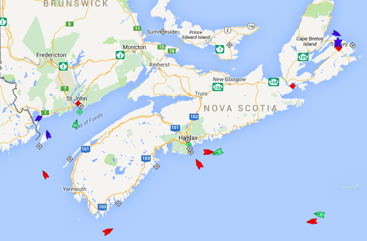 The seas around Nova Scotia, 8am Wednesday. Map: marinetraffic.com