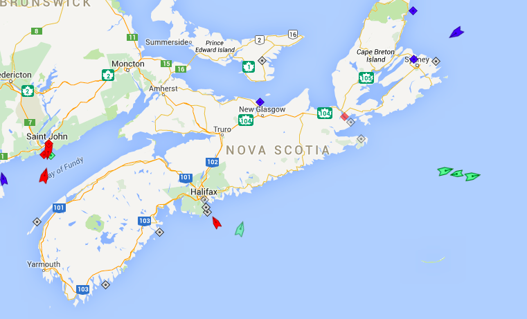The seas around Nova Scotia, 8:30am Saturday. Note the increased tanker (red ships) activity at the Irving refinery in Saint Johan, and the odd confluence (left to right) of the Oceanex Sanderling (headed to St. John's), Fusion (headed to Halifax), and Atlantic Conveyor (headed to Liverpool, England) near Sable Island. Map: marinetraffic.com