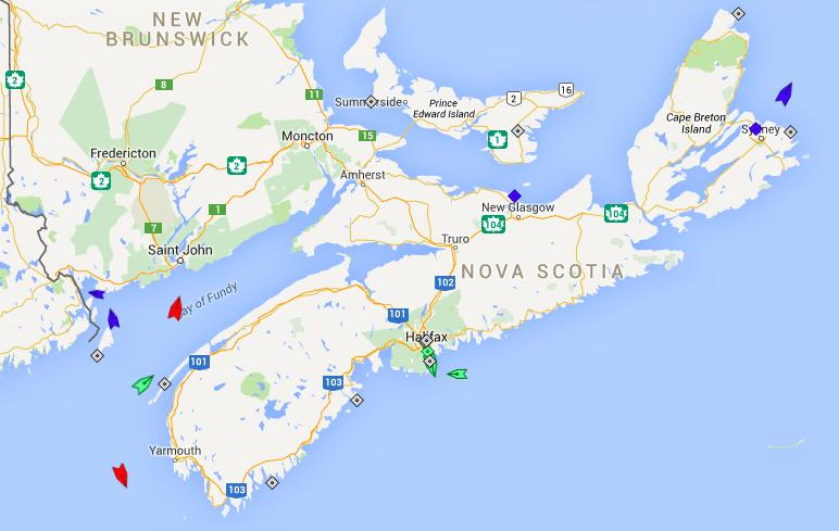 The seas off Nova Scotia, 8:15am Thursday. Map: marinetraffic.com