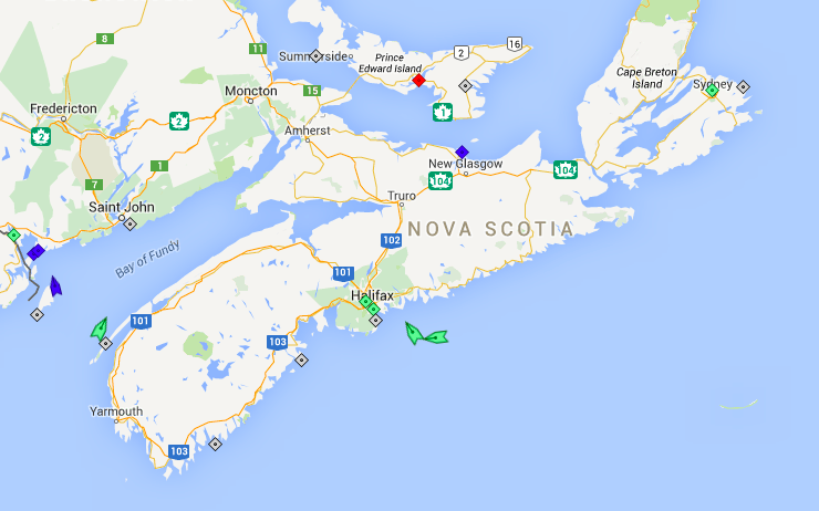 The seas off Nova Scotia, 8am Wednesday. Map: marinetraffic.com