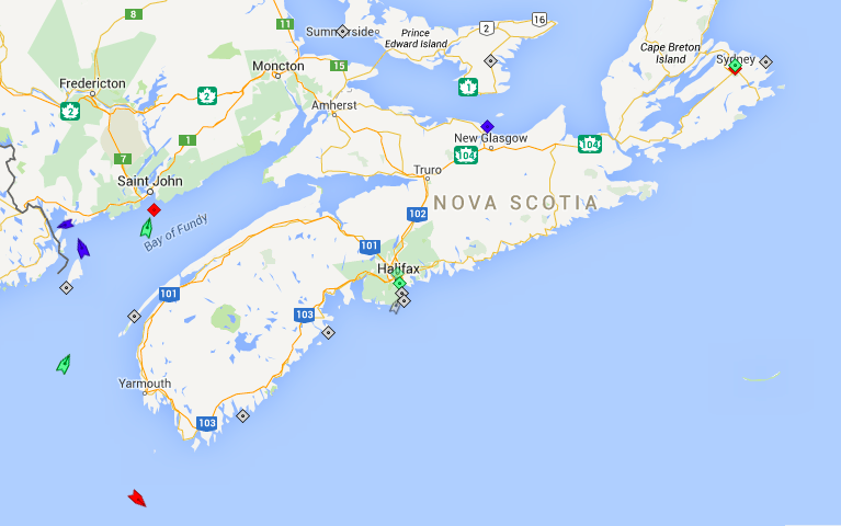 The seas around Nova Scotia, 8:15am Monday. Map: marinetraffic.com