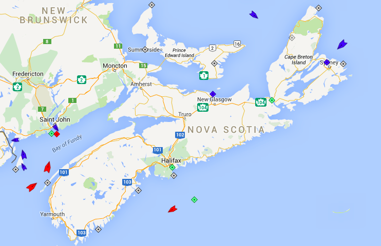 The seas around Nova Scotia, 8:15am Wednesday. Map: marinetraffic.com