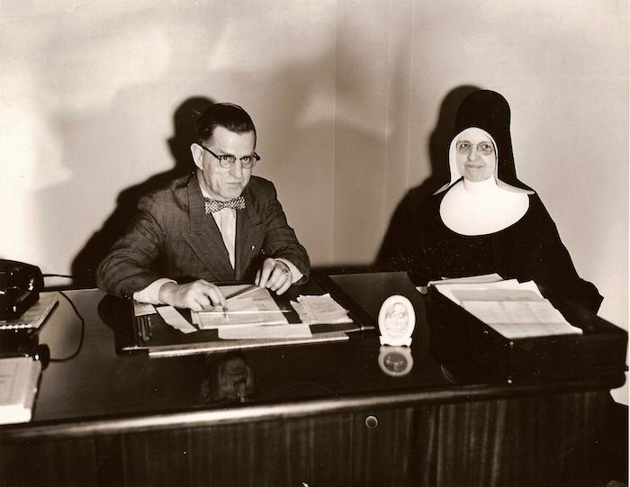 St. Patrick's High School in happier days: F.W. Coolen and Sister Rose Catherine, principal and associate principal of the then-new St. Patrick's High School, in 1954. Photo: http://halifaxhistory.ca