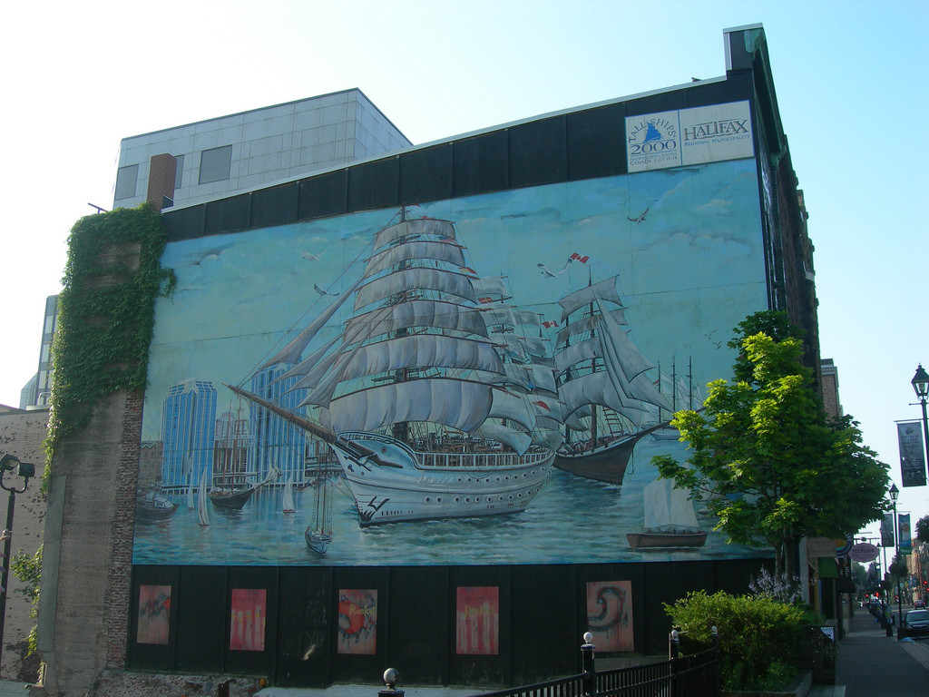 A photo of the Tall Ships mural as painted by Zeqirja Rexhepi. Photo by Jimmy Emerson, from Flickr.