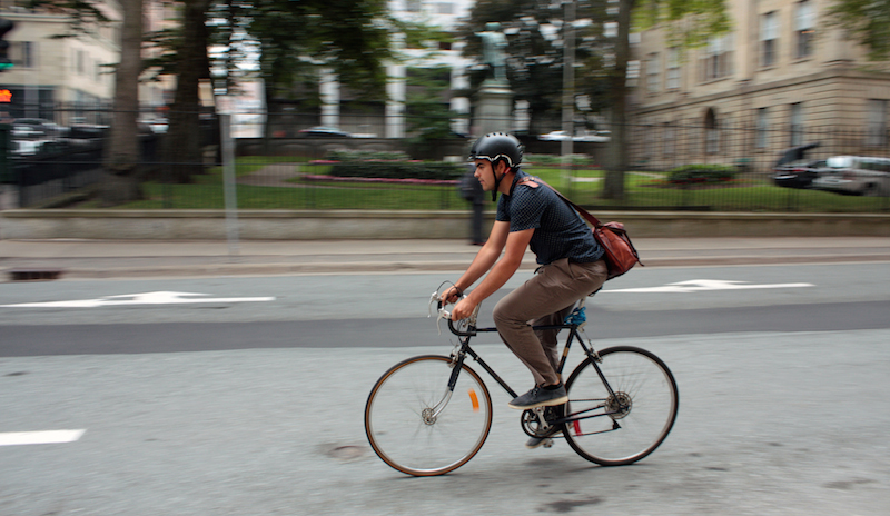 Halifax Cycling Coalition representative Matt Worona cruises down the left side of Hollis Street, where someday a bike lane could be painted. Photo: Hilary Beaumont