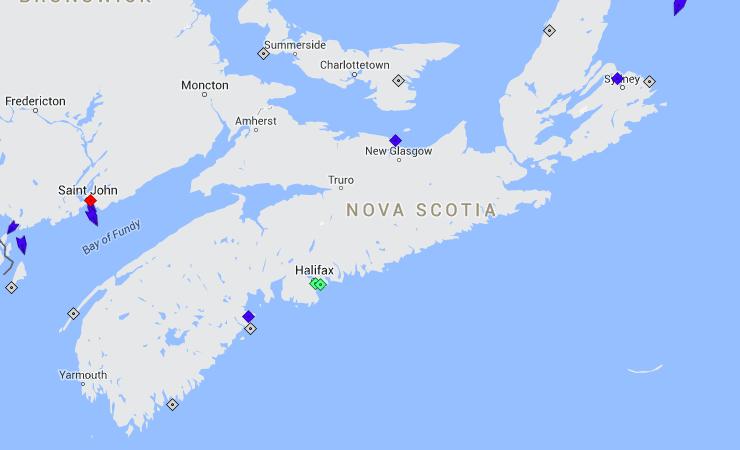 The seas around Nova Scotia, 10am Saturday. Map: marinetraffic.com