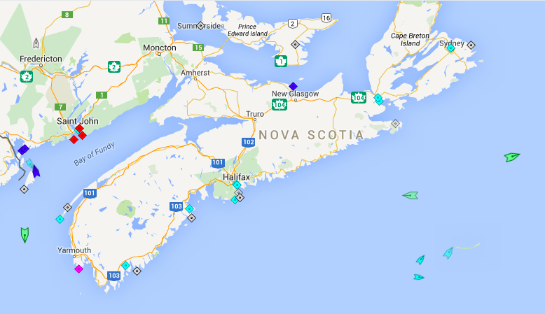 The seas around Nova Scotia, 8am Tuesday. Map: marinetraffic.com