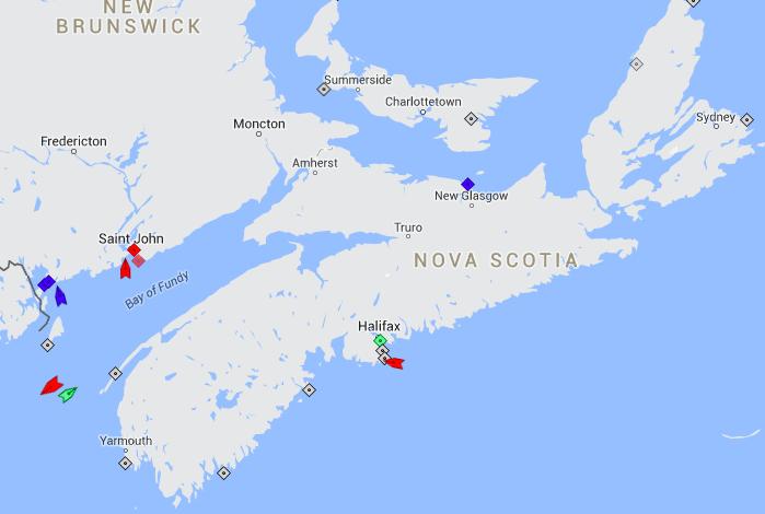 The seas around Nova Scotia, 8:30am Thursday. Map: marinetraiffic.com