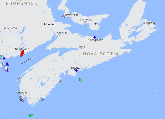 The seas around Nova Scotia, 8am Monday. Map: marinetraffic.com