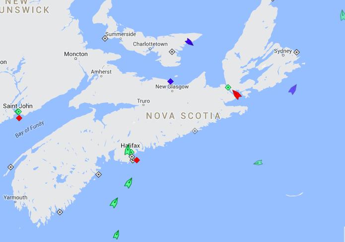 The seas off Nova Scotia, 8:30am Wednesday. Map: marinetraffic.com