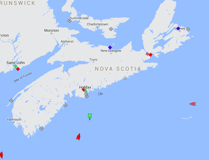 The seas around Nova Scotia, 9am Thursday. Map: marinetraffic.com