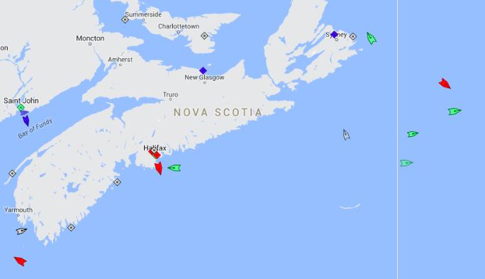 The seas off Nova Scotia, 10am Saturday. Map: marinetraffic.com