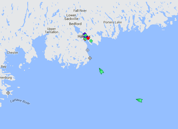 The Bahri Tabuk and Atlantic Courtier approaching Halifax Harbour, 8:15am Tuesday. Map: marinetraffic.com