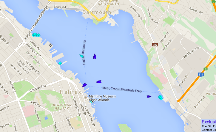 Halifax Harbour, 8:45am Monday. The blue boats are the ferries. Map: marinetraffic.com