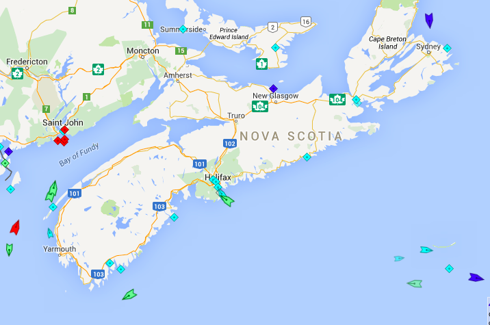 The seas around Nova Scotia, 6am Tuesday. Map; marinetraffic.com