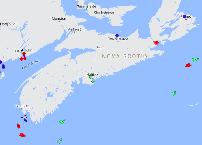 The seas around Nova Scotia, 8:30am Wednesday. Map: marinetraffic.com