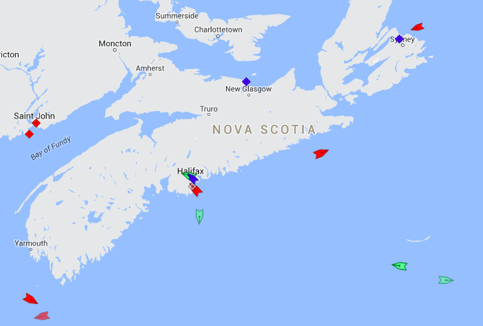The seas around Nova Scotia, 7:15am Thursday. Map: marinetraffic.com