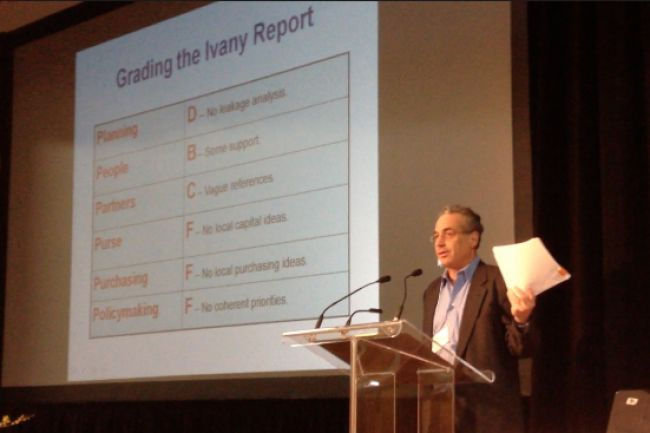 Economist and writer Michael Shuman spoke Thursday evening at the Local Prosperity Conference in Annapolis Royal. He gave the Ivany Report failing grades and said he would do the opposite. Photo: Michael Power, TC-Media