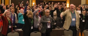 CAUT members give Bill 100 a thumbs down Photo: Paul Jones