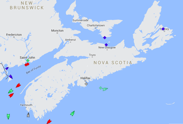 The seas around Nova Scotia, 7:45am Thursday. Map: marinetraffic.com