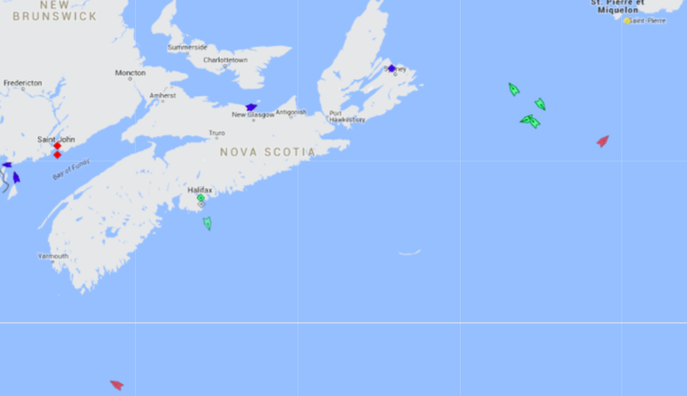 The seas around Nova Scotia, 8:30am Friday. Note the cluster of ships, each heading a different direction, about halfway between Nova Scotia and Newfoundland. Map: marinetraffic.com