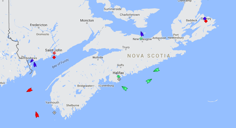 The seas around Nova Scotia, 9am, Friday. Map: marinetraffic.com