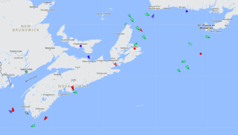 The seas around Nova Scotia, 7:30am Friday. Map: marinetraffic.com