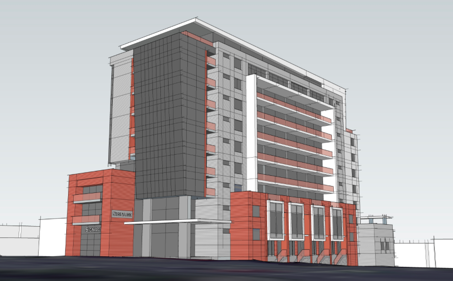 The developer produced this impossible view of the proposed Wyse Road apartment building.