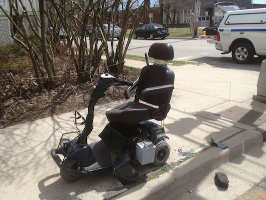 Judy MacIsaac-Davis' motorized scooter, after she was struck by a pickup truck. Photo: Halifax Examiner