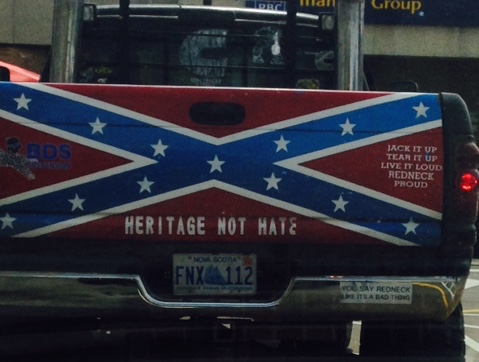 The Confederate flag is displayed on the back of a pickup truck seen driving around Turro. Photo: Lynn Jones