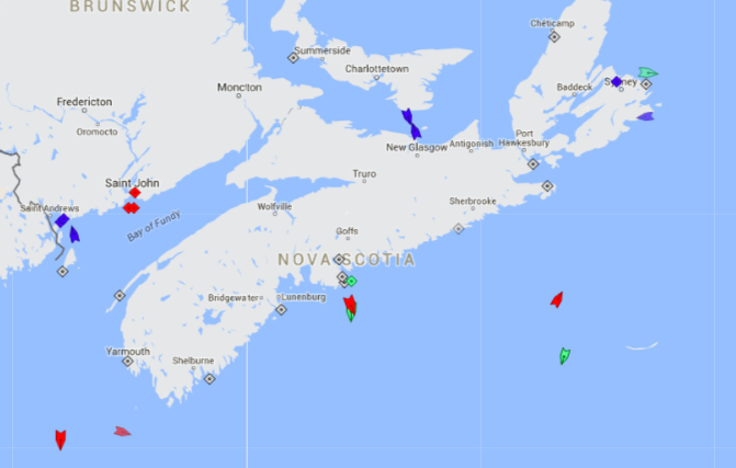 The seas around Nova Scotia, 8:30am Thursday. Map: marinetraffic.com
