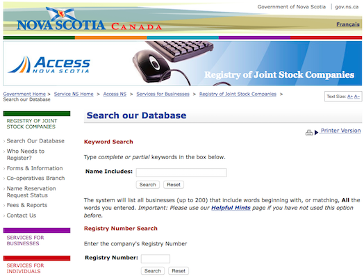 The Registry of Joint Stock Companies search page, my most-used government resource.