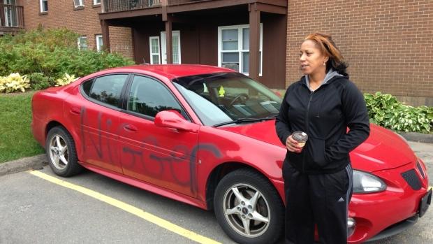 """""""Rare"""" image from cbc.ca of racist graffiti in Nova Scotia."""
