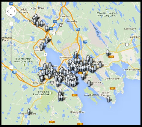 Halifax pedestrian collision map from wheelchairrights.wordpress.com.