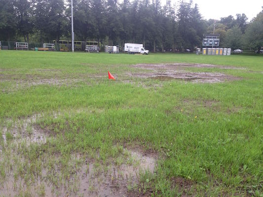 The Wanderers Ground is a soggy mess. Photo: Halifax Examiner