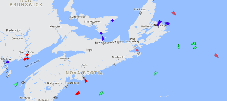 The seas around Nova Scotia, 8:25am Tuesday. Map: marinetraffic.com