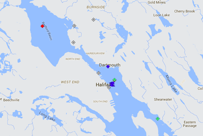 Halifax Harbour is relatively quiet this morning. The red square in Bedford Basin is the barge Asphalt Spring, which will sail tomorrow. The Green box off downton is Kom, while the green box at Autoport is Tosca. The ferries are in blue. Map: marinetraffic.com