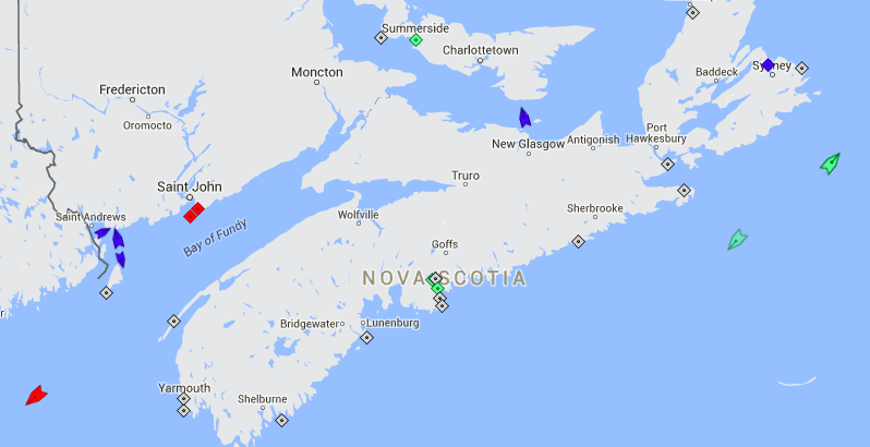 The seas around Nova Scotia, 8:40am Friday. Map: marinetraffic.com