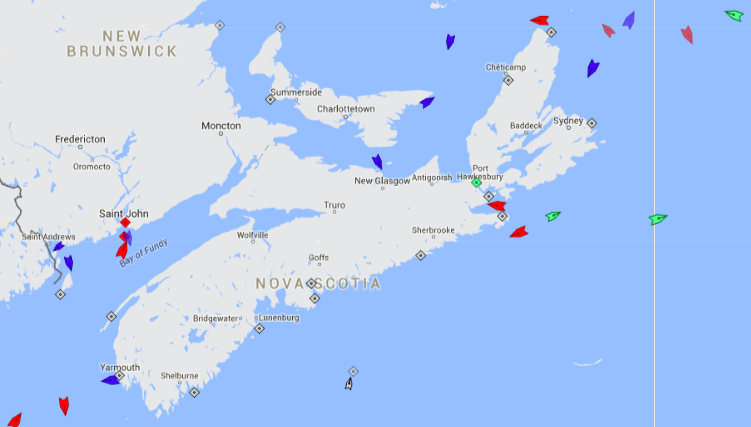 The seas around Nova Scotia, 10:15am Saturday. Map: marinetraffic.com