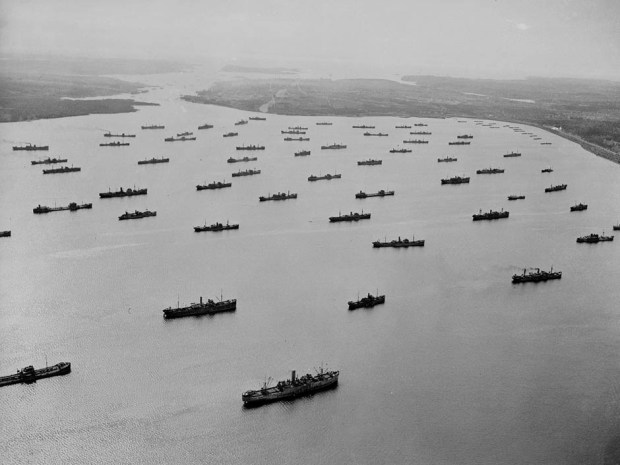 A Convoy in Bedford Basin, Halifax, Nova Scotia on April 1,1942. Photo: National Archives