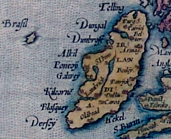 Brasil as shown in relation to Ireland on a map by Abraham Ortelius (1572).
