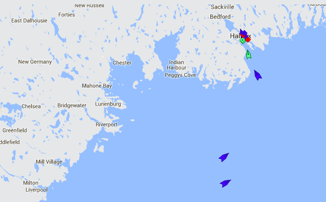 The entrance to Halifax Harbour at 8:30am Friday. It's another busy cruise ship day; the map shows the cargo ship (green) BBC Alabama off Herring Cove, followed by the cruise ships (blue) Regatta, Carnival Splendor, and Celebrity Summit. Map: marinetraffic.com
