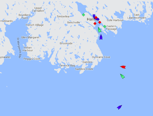 The entrance to Halifax Harbour at 8:15 this morning. The Glovis Century is the green ship just passing McNabs Island. Behind it (blue) is the cruise ship Maasdan. Further out to sea is the Kirsten (red), Stellar Sunrise (green), and the cruise ship Eurodam (blue). Map: marinetraffic.com