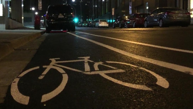 Image, possibly of bike, possibly signifying bike lane, from cbc.ca